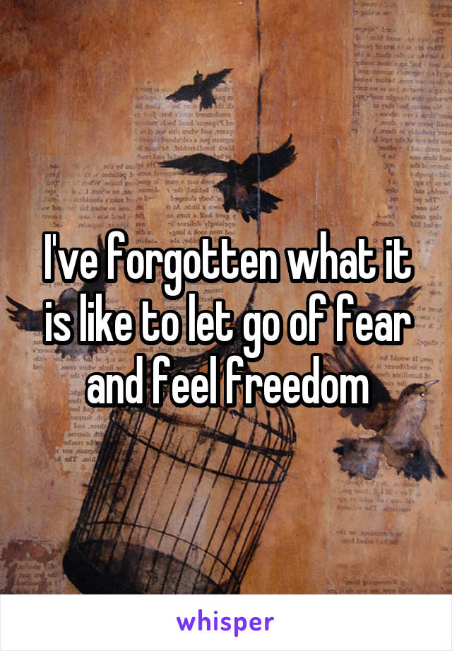 I've forgotten what it is like to let go of fear and feel freedom