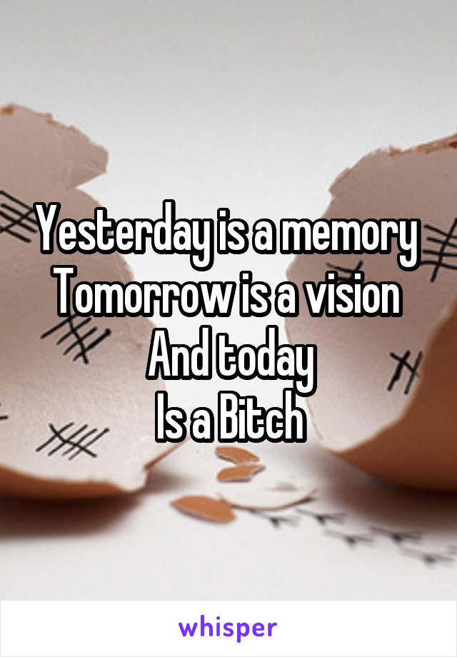 Yesterday is a memory  Tomorrow is a vision  And today Is a Bitch