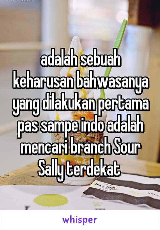 adalah sebuah keharusan bahwasanya yang dilakukan pertama pas sampe indo adalah mencari branch Sour Sally terdekat