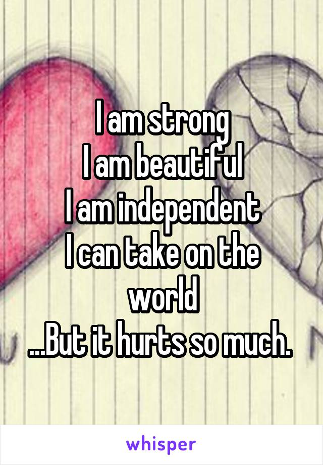 I am strong I am beautiful I am independent I can take on the world ...But it hurts so much.