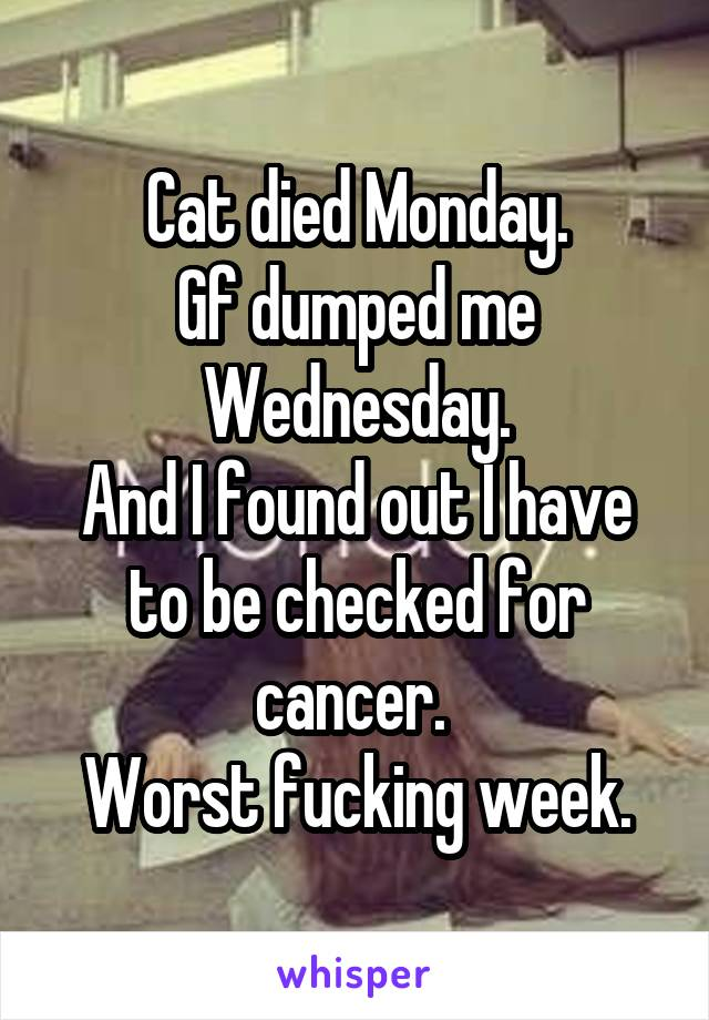 Cat died Monday. Gf dumped me Wednesday. And I found out I have to be checked for cancer.  Worst fucking week.
