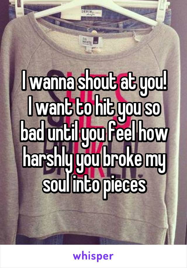 I wanna shout at you! I want to hit you so bad until you feel how harshly you broke my soul into pieces