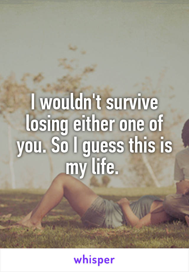 I wouldn't survive losing either one of you. So I guess this is my life.