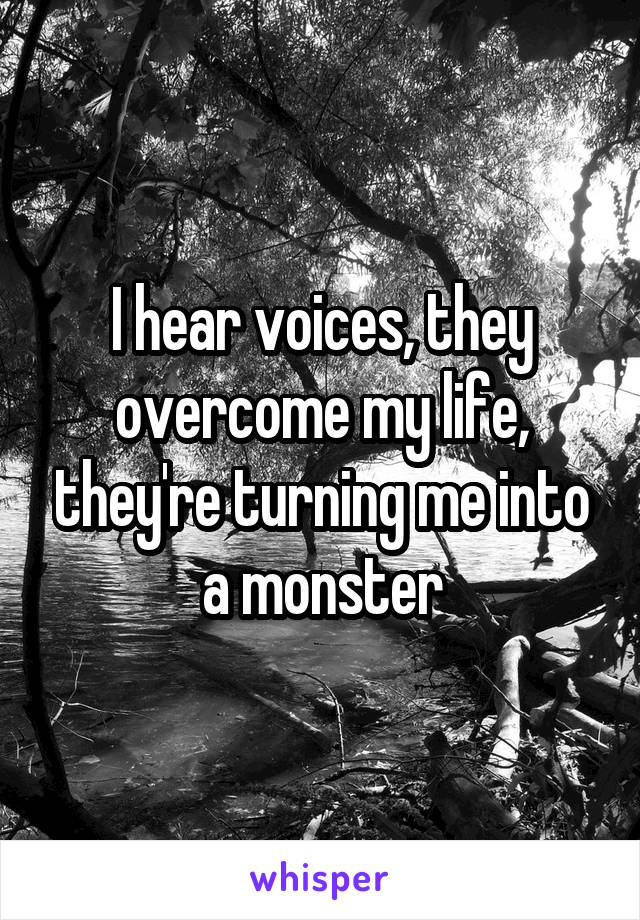 I hear voices, they overcome my life, they're turning me into a monster