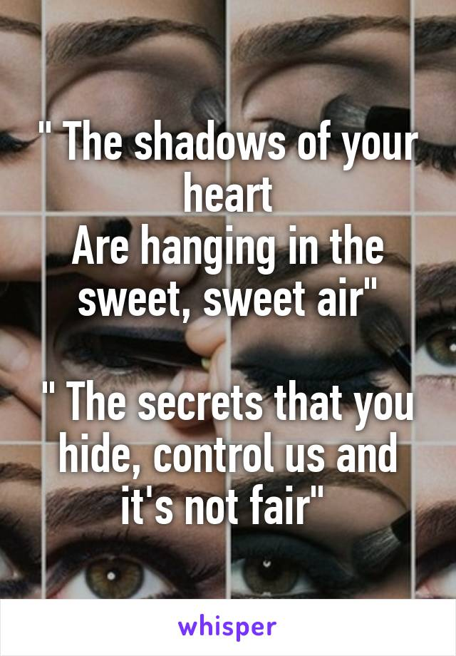 """"""" The shadows of your heart Are hanging in the sweet, sweet air""""  """" The secrets that you hide, control us and it's not fair"""""""