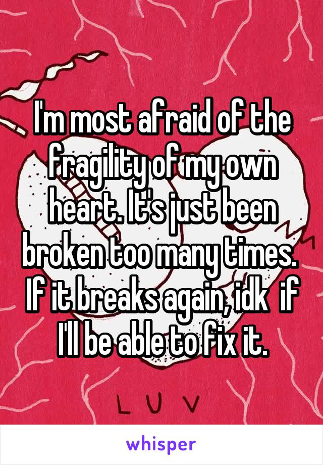 I'm most afraid of the fragility of my own heart. It's just been broken too many times.  If it breaks again, idk  if I'll be able to fix it.