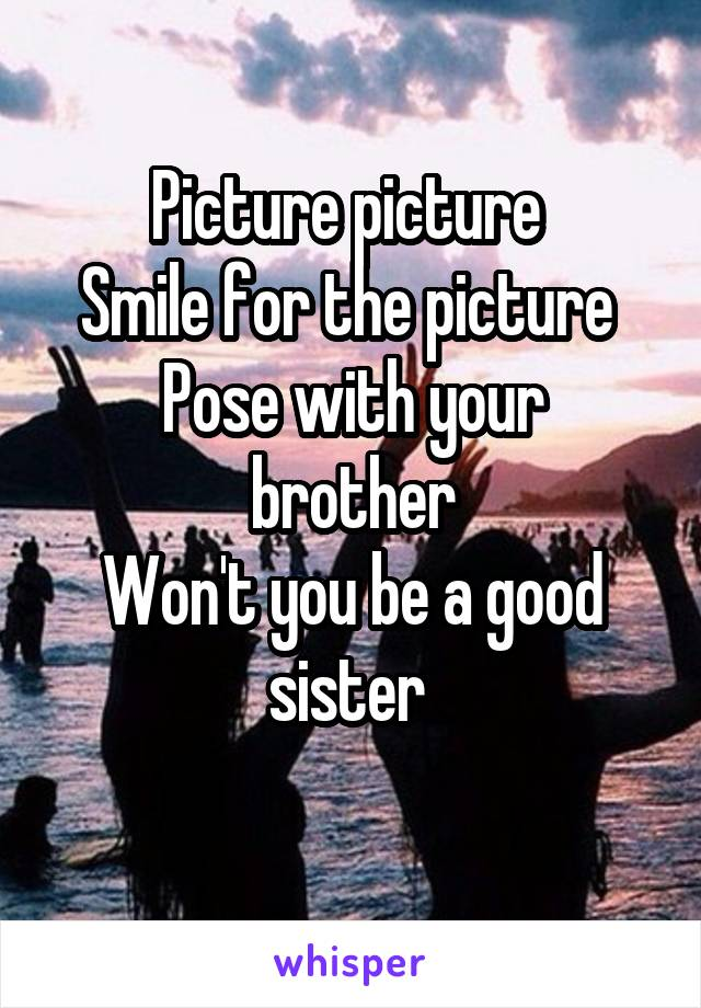 Picture picture  Smile for the picture  Pose with your brother Won't you be a good sister