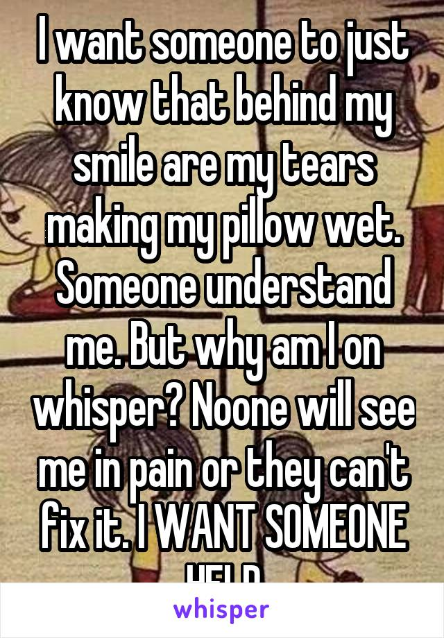I want someone to just know that behind my smile are my tears making my pillow wet. Someone understand me. But why am I on whisper? Noone will see me in pain or they can't fix it. I WANT SOMEONE HELP