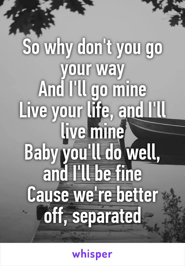 So why don't you go your way And I'll go mine Live your life, and I'll live mine Baby you'll do well, and I'll be fine Cause we're better off, separated