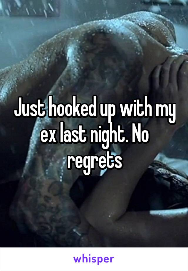 Just hooked up with my ex last night. No regrets