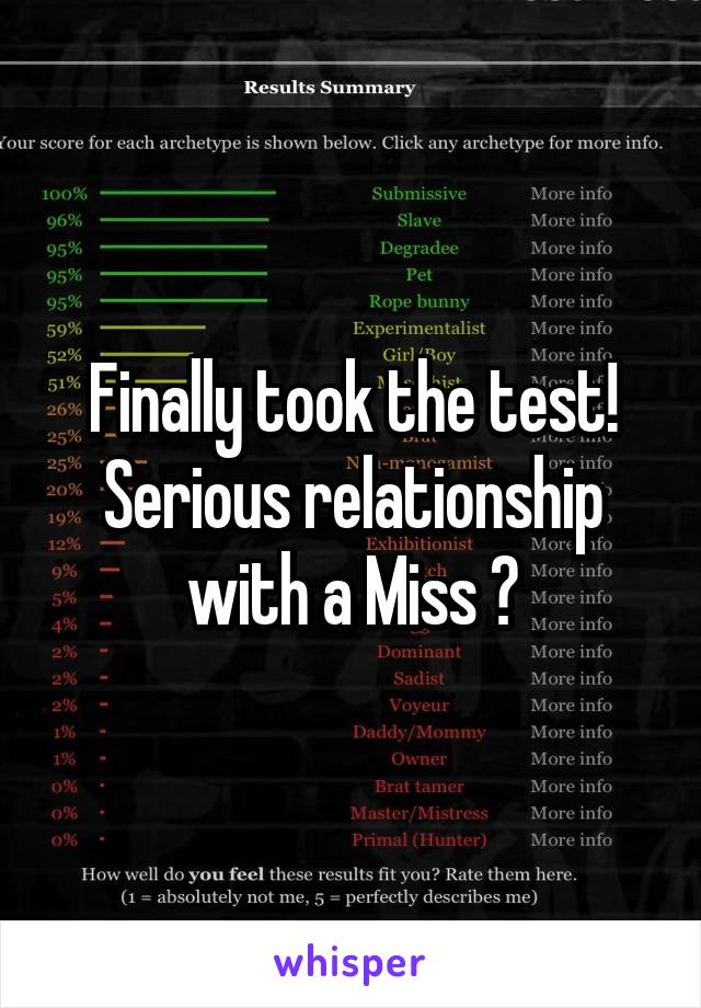 Finally took the test! Serious relationship with a Miss ?
