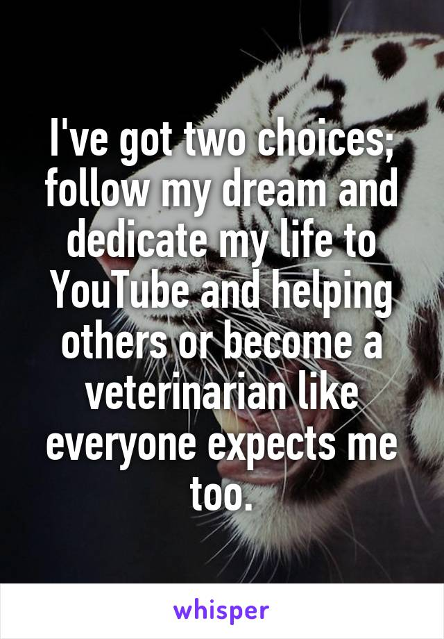 I've got two choices; follow my dream and dedicate my life to YouTube and helping others or become a veterinarian like everyone expects me too.