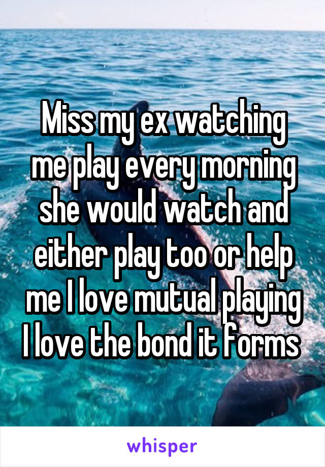 Miss my ex watching me play every morning she would watch and either play too or help me I love mutual playing I love the bond it forms