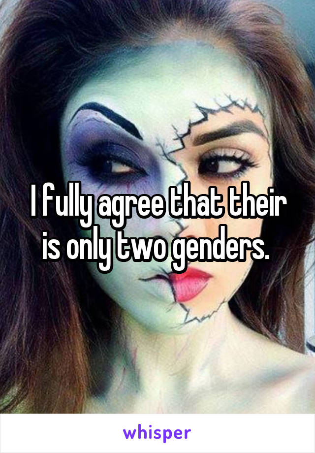 I fully agree that their is only two genders.