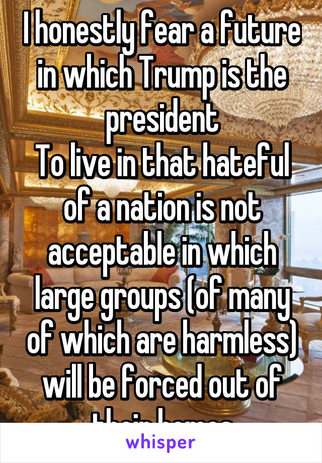 I honestly fear a future in which Trump is the president To live in that hateful of a nation is not acceptable in which large groups (of many of which are harmless) will be forced out of their homes