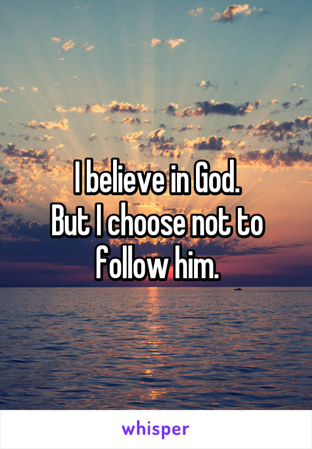 I believe in God. But I choose not to follow him.