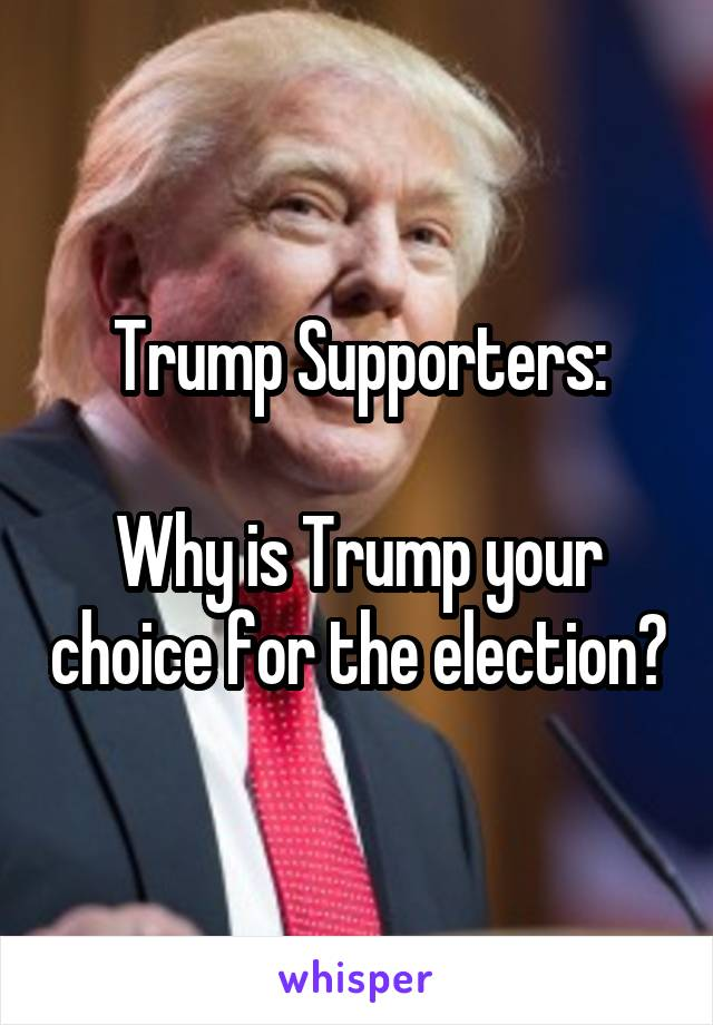 Trump Supporters:  Why is Trump your choice for the election?