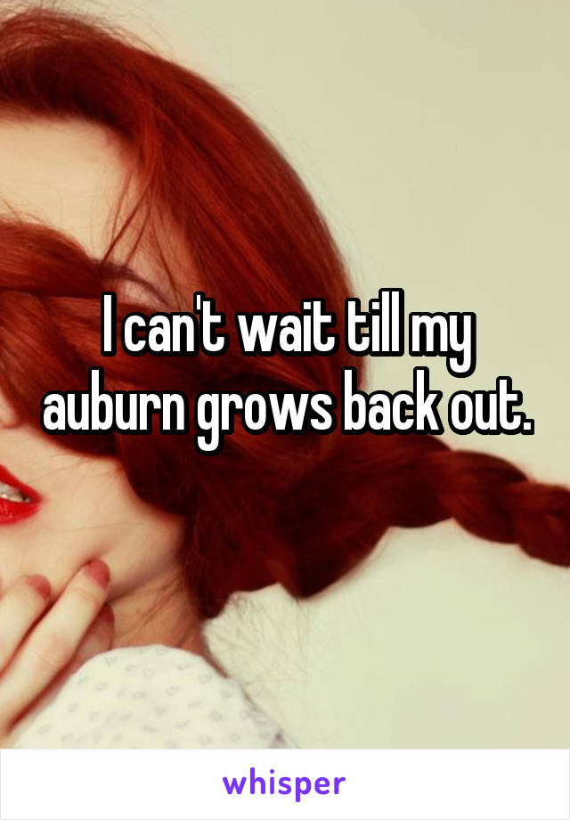 I can't wait till my auburn grows back out.