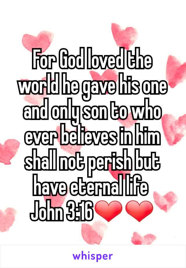 For God loved the world he gave his one and only son to who ever believes in him shall not perish but have eternal life  John 3:16❤❤