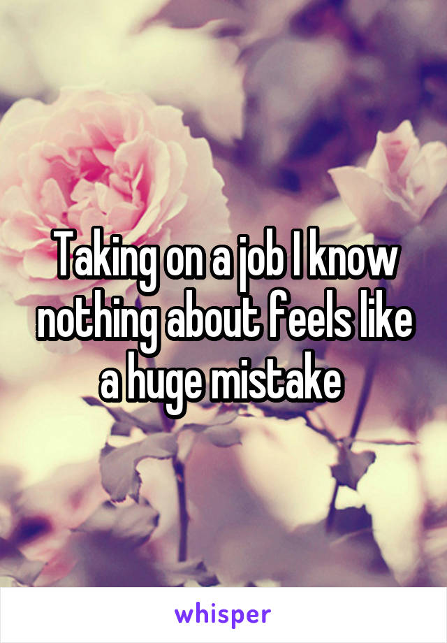 Taking on a job I know nothing about feels like a huge mistake
