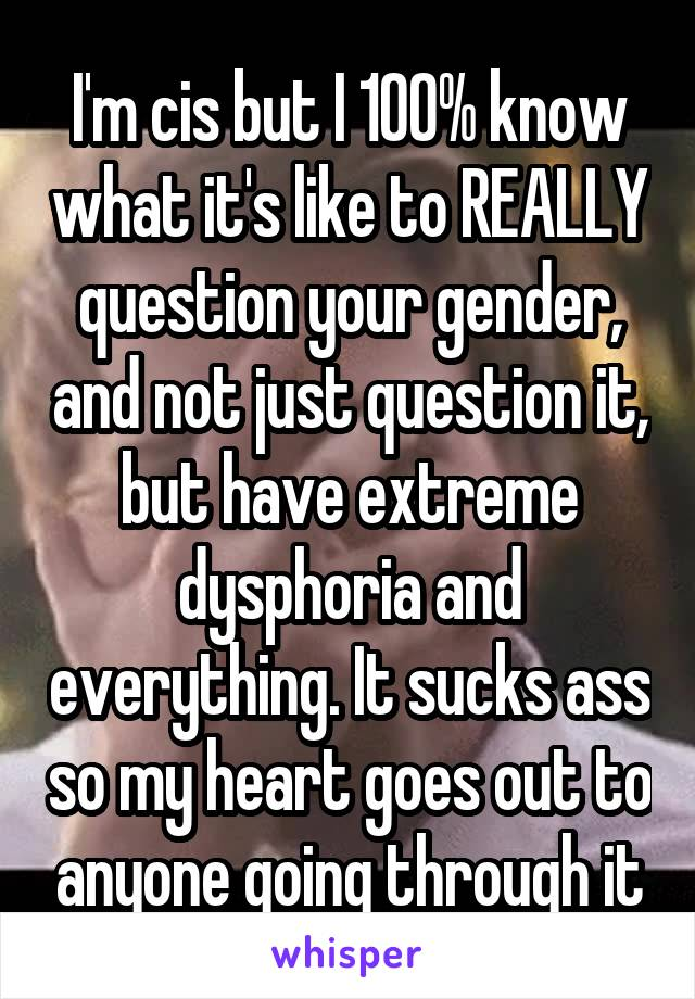 I'm cis but I 100% know what it's like to REALLY question your gender, and not just question it, but have extreme dysphoria and everything. It sucks ass so my heart goes out to anyone going through it