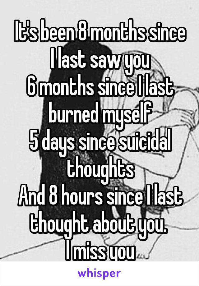 It's been 8 months since I last saw you 6 months since I last burned myself 5 days since suicidal thoughts And 8 hours since I last thought about you.  I miss you