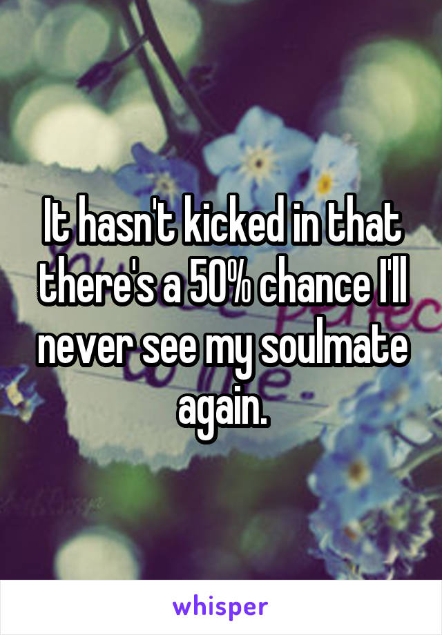 It hasn't kicked in that there's a 50% chance I'll never see my soulmate again.