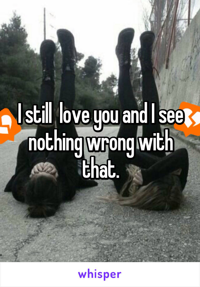 I still  love you and I see nothing wrong with that.