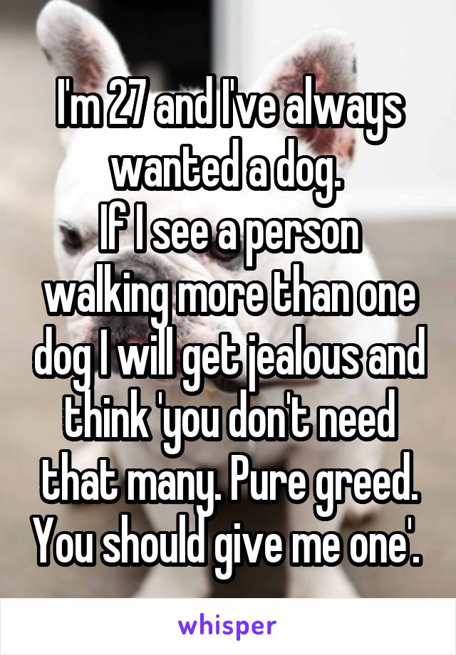I'm 27 and I've always wanted a dog.  If I see a person walking more than one dog I will get jealous and think 'you don't need that many. Pure greed. You should give me one'.