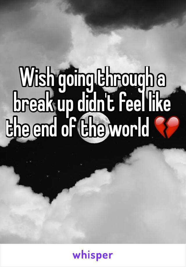 Wish going through a break up didn't feel like the end of the world 💔