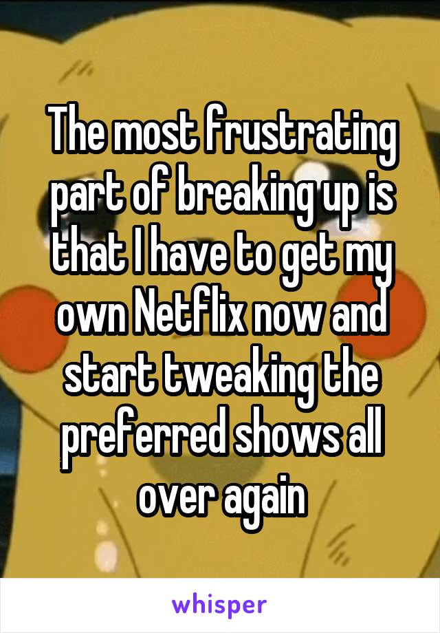 The most frustrating part of breaking up is that I have to get my own Netflix now and start tweaking the preferred shows all over again