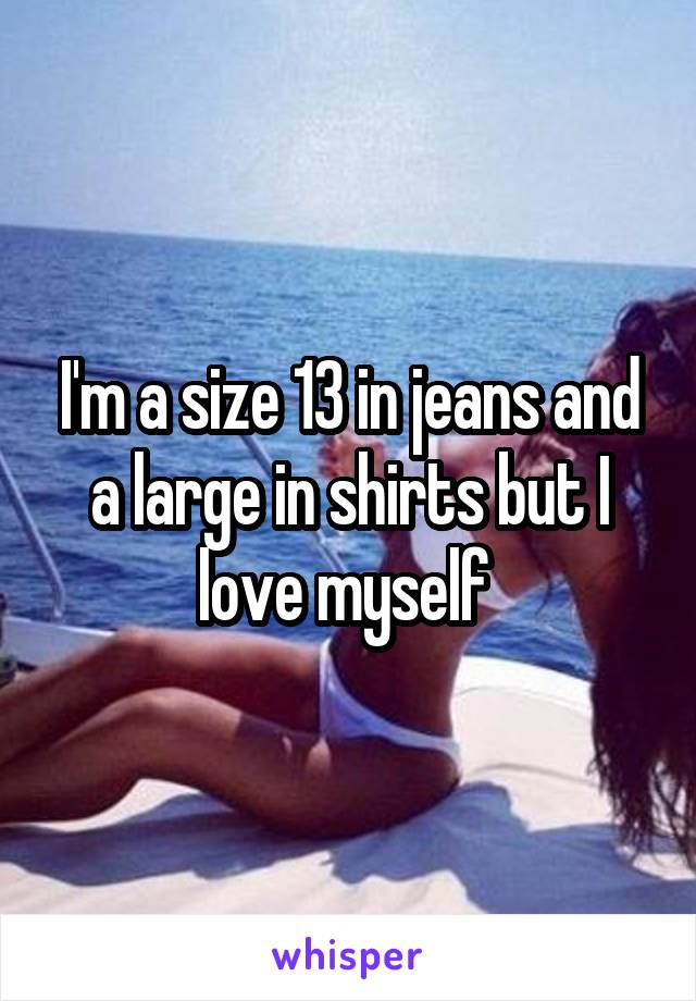 I'm a size 13 in jeans and a large in shirts but I love myself