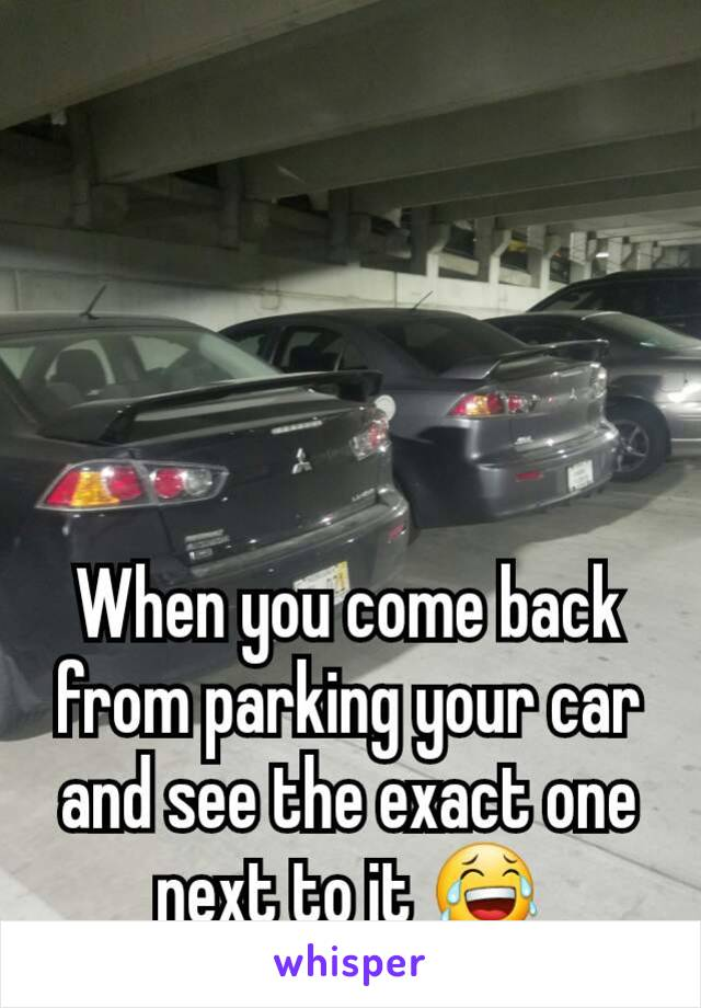 When you come back from parking your car and see the exact one next to it 😂
