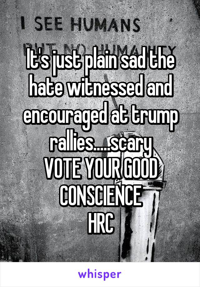 It's just plain sad the hate witnessed and encouraged at trump rallies.....scary VOTE YOUR GOOD CONSCIENCE HRC