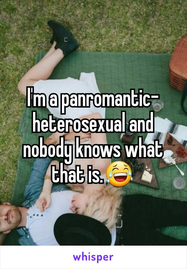 I'm a panromantic-heterosexual and nobody knows what that is.😂