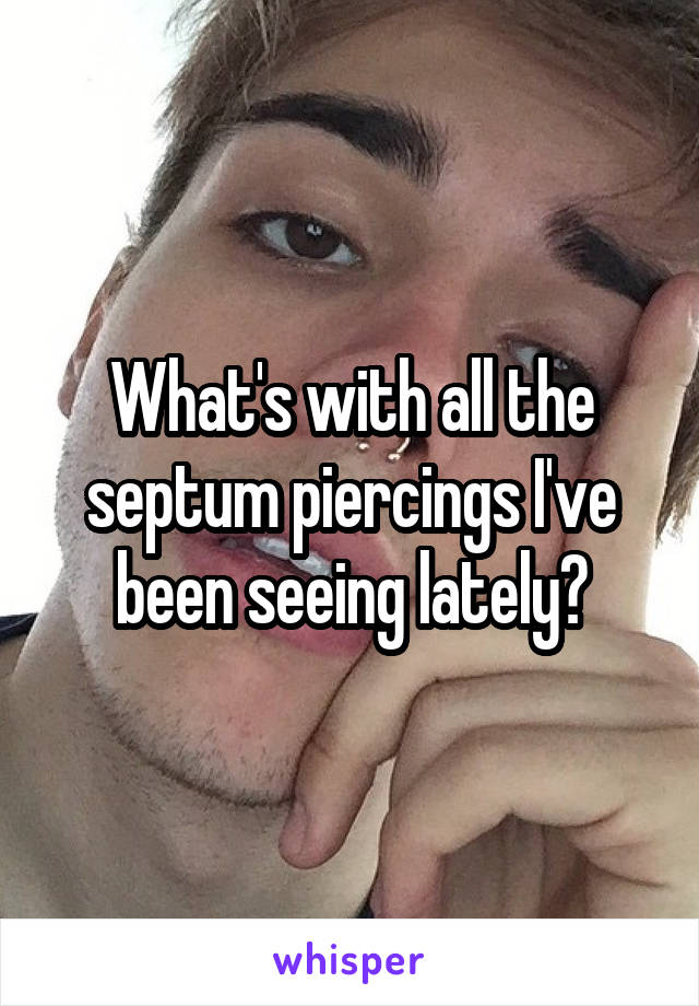 What's with all the septum piercings I've been seeing lately?