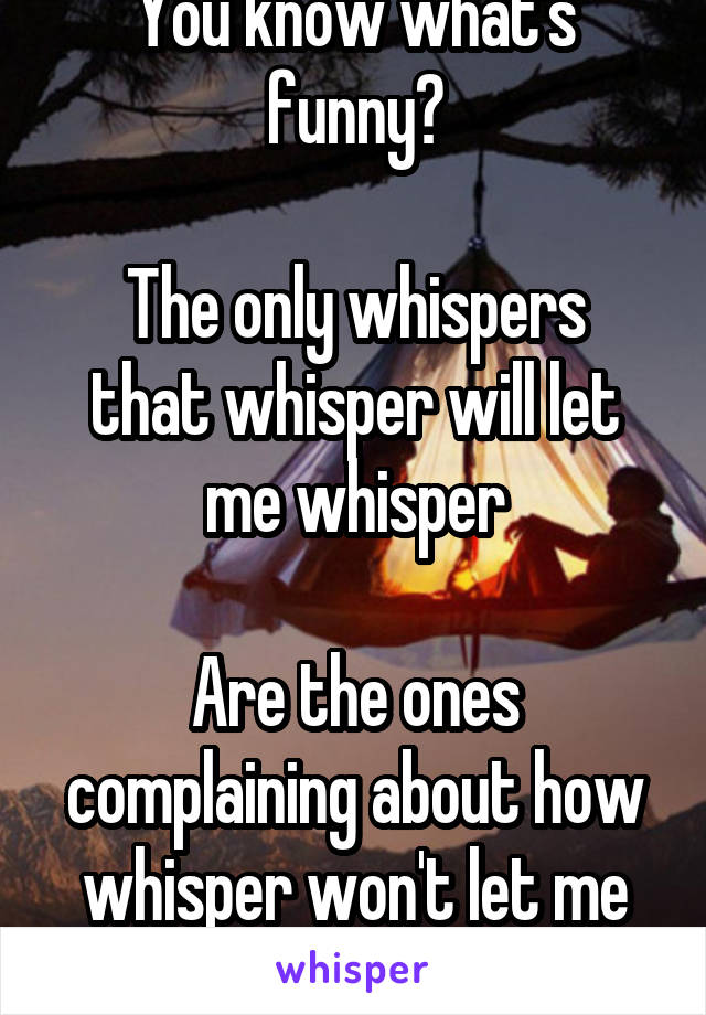 You know what's funny?  The only whispers that whisper will let me whisper  Are the ones complaining about how whisper won't let me whisper anything.