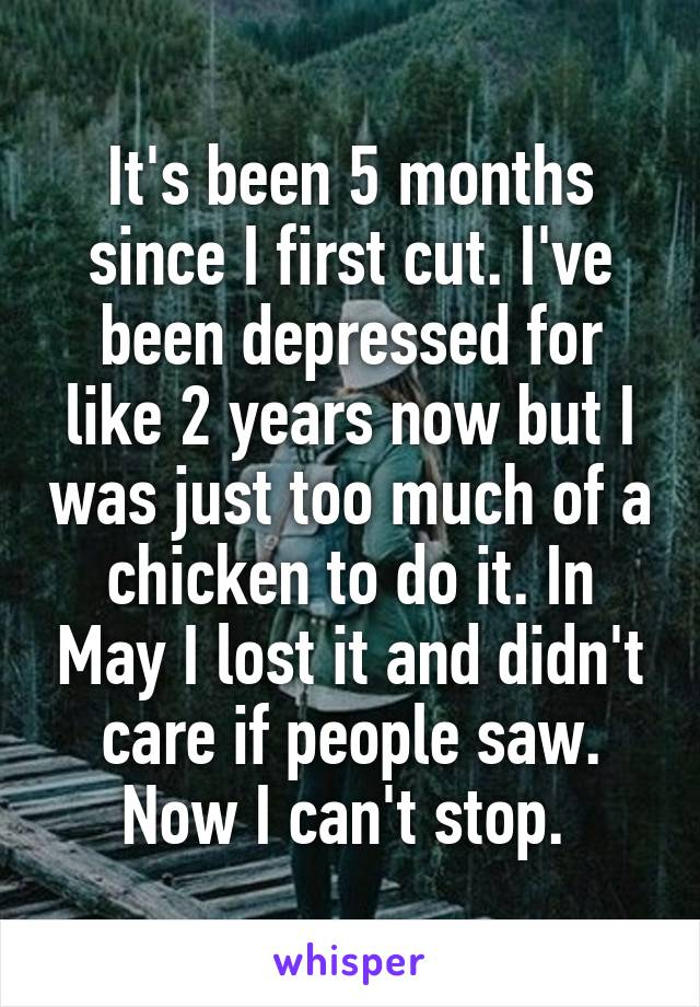 It's been 5 months since I first cut. I've been depressed for like 2 years now but I was just too much of a chicken to do it. In May I lost it and didn't care if people saw. Now I can't stop.