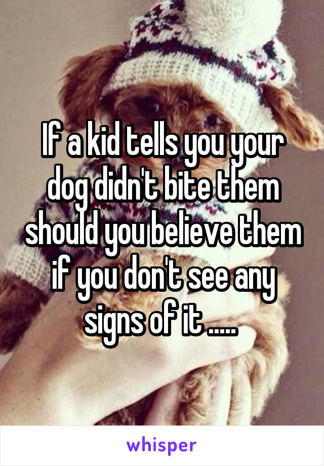 If a kid tells you your dog didn't bite them should you believe them if you don't see any signs of it .....