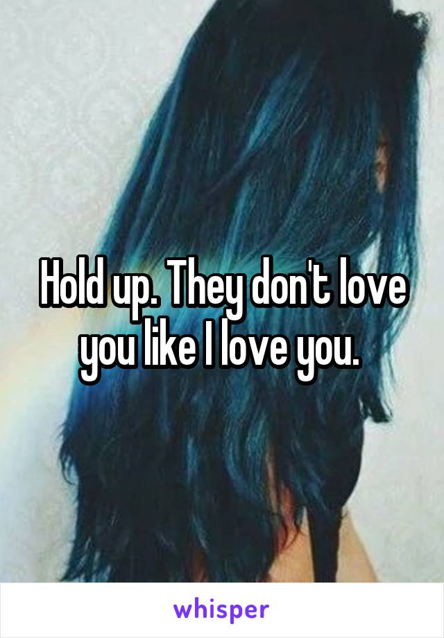 Hold up. They don't love you like I love you.