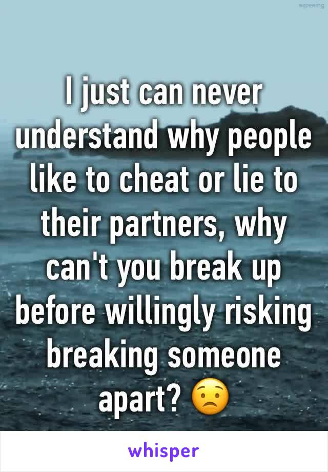 I just can never understand why people like to cheat or lie to their partners, why can't you break up before willingly risking breaking someone apart? 😟