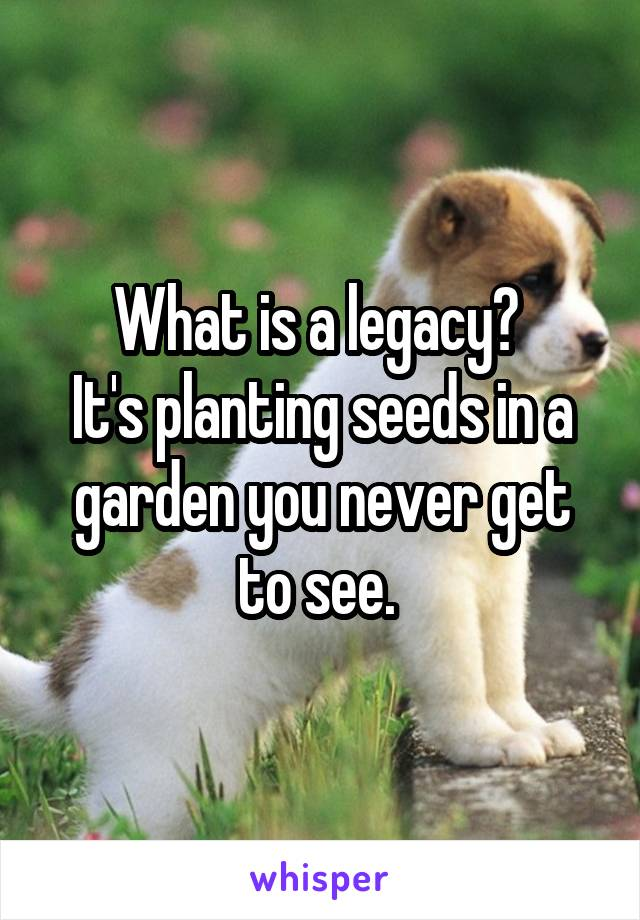 What is a legacy?  It's planting seeds in a garden you never get to see.