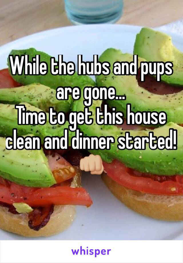 While the hubs and pups are gone... Time to get this house clean and dinner started! 👊🏼