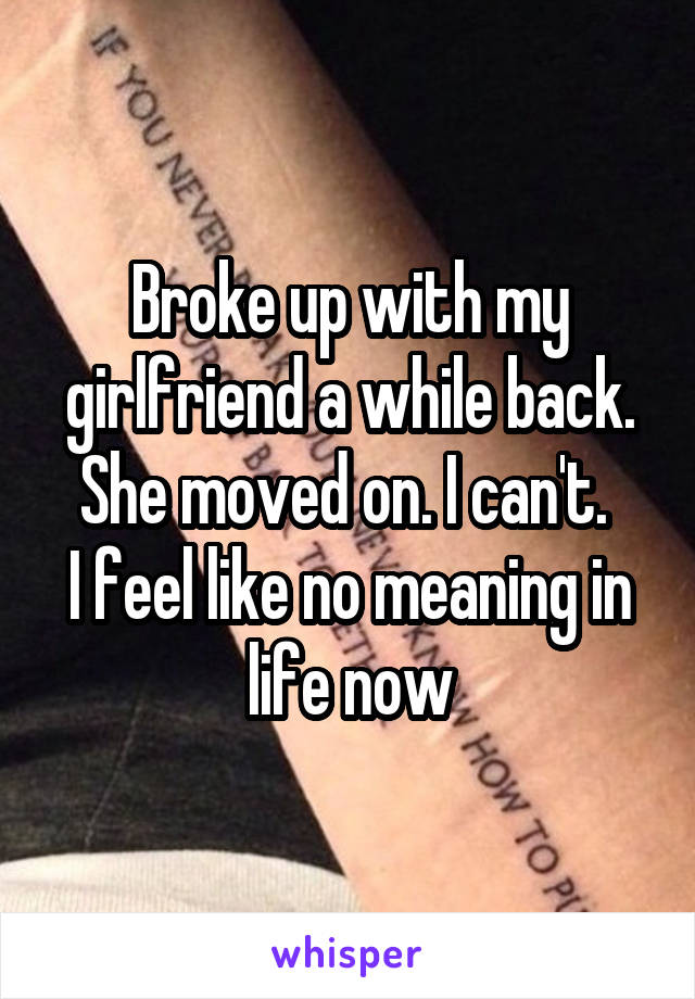 Broke up with my girlfriend a while back. She moved on. I can't.  I feel like no meaning in life now