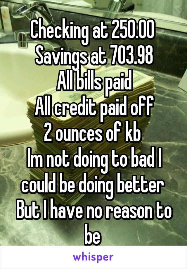 Checking at 250.00  Savings at 703.98 All bills paid All credit paid off 2 ounces of kb  Im not doing to bad I could be doing better  But I have no reason to be
