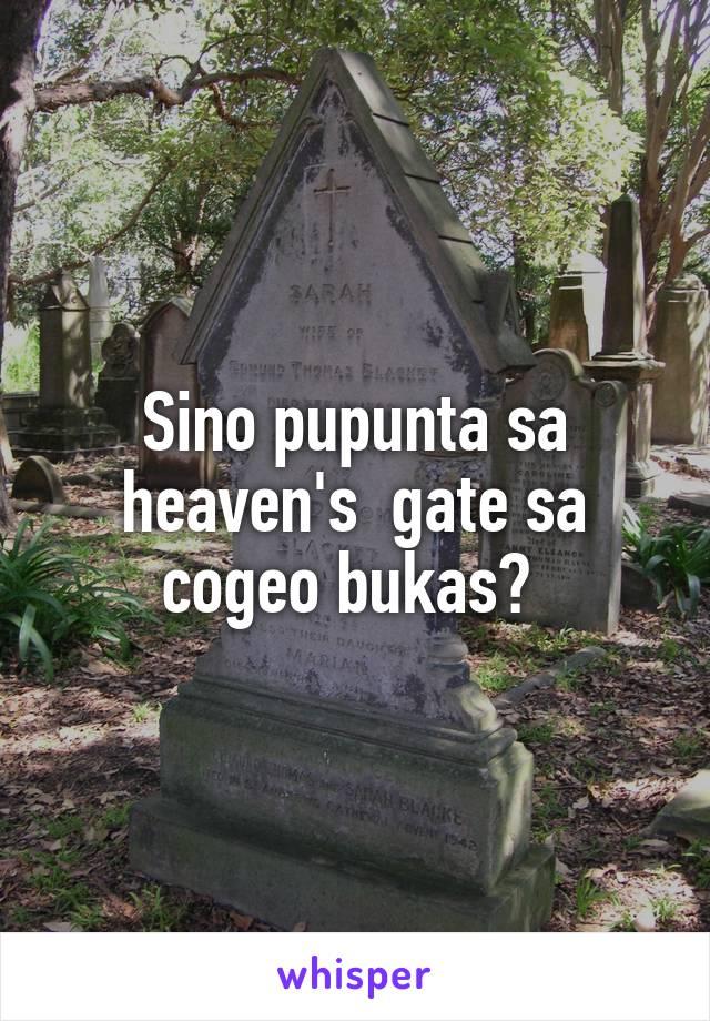 Sino pupunta sa heaven's  gate sa cogeo bukas?