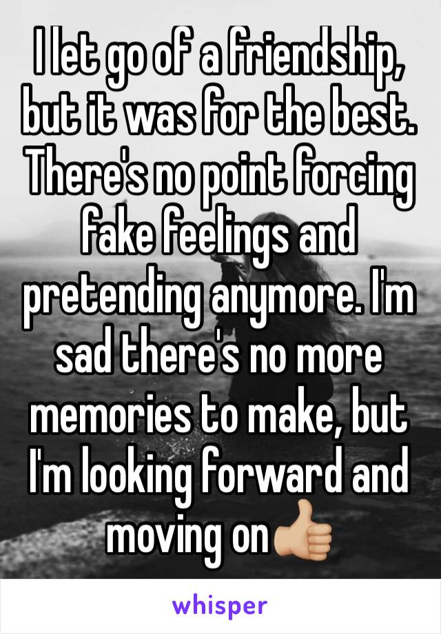 I let go of a friendship, but it was for the best. There's no point forcing fake feelings and pretending anymore. I'm sad there's no more memories to make, but I'm looking forward and moving on👍🏼
