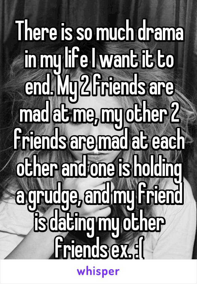 There is so much drama in my life I want it to end. My 2 friends are mad at me, my other 2 friends are mad at each other and one is holding a grudge, and my friend is dating my other friends ex. :(