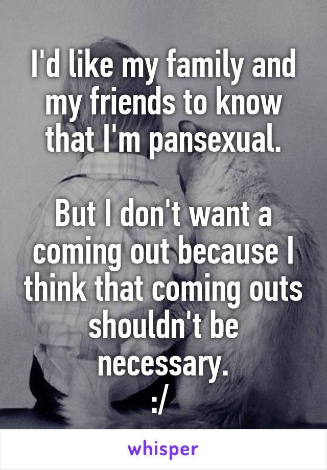 I'd like my family and my friends to know that I'm pansexual.  But I don't want a coming out because I think that coming outs shouldn't be necessary. :/