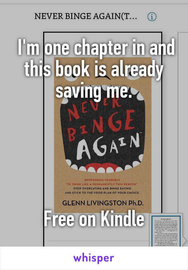I'm one chapter in and this book is already saving me.      Free on Kindle